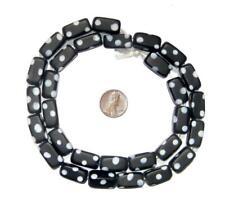 Black Rectangular Polka Dot Skunk Beads 9x19mm Ghana African Black and White