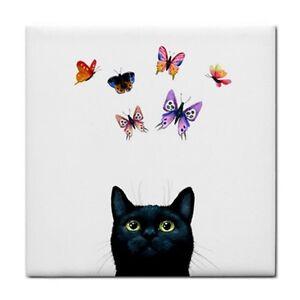 Large Ceramic Tile 6x6 black Cat 606 butterfly white art painting LDumas
