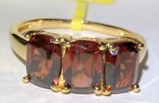 Mozambique Garnet Trilogy Ring in 14k Yellow Gold over Sterling Size 7
