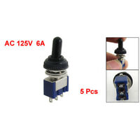 5x 125V 6A ON/OFF/ON 3 Position SPDT 3Pin Toggle Switch with Waterproof Boo M7I5