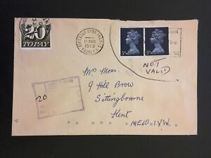 V GB 1980 20p POSTAGE DUE ON COVER TO KENT (L.S.D. STAMPS NOT VALID)
