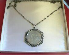 835 Silber Kette mit Anhänger Münze 10 GULDEN Nederland Herrijst Königin JULIANA