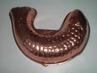 """Vintage Large 12"""" Copper Fish Mold Jello Jelly Cake Pan Wall Hanger"""