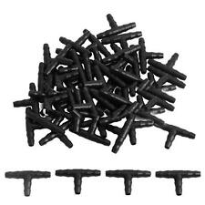 50Pcs 4mm / 7mm Tee Pipe Hose Fitting Joiner Drip For Irrigation System Black