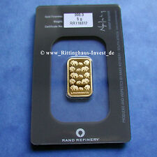 Goldbarren 5g 5 Gramm Gold 99,99 Rand Refinery Loxodonta Elefante South Africa