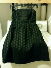 GO INTERNATIONAL Black Velvet Tonal Print Strapless Pocket Party Dress Size 1