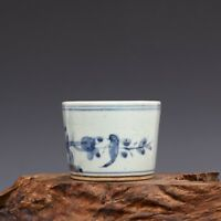 China Porcelain qing The three generation Blue and white Bird lines Brush Washer