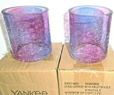 Yankee Candle 2x AMETHYST CRACKLE Votive Holders - New in Box - FREE SHIPPING