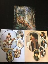 """3- 8"""" X 10"""" Native American Collage Picture Prints In Lithograph by Dealer"""
