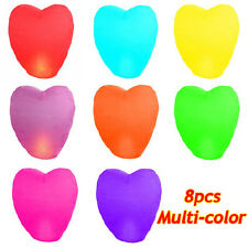 8PCS Multi-color Heart-shaped Lantern Sky Fly Candle Lamp For Wish Party Wedding