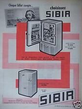 PUBLICITÉ 1958 CHOISISSEZ SIBIR RÉFRIGÉRATEUR - ADVERTISING