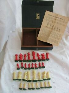 Vintage Drueke Chess Pieces Set with Instruction Booklet and Box Red Ivory No 24