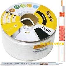 20 metros cable coaxial Televes T100 Plus 75ohm de Antena TV TDT SAT ICT