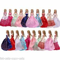 3x BARBIE DOLL'S CLOTHING BALL GOWNS WEDDING DRESSES & 3 PAIRS SHOES FREE UK P&P