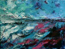 """Tableau abstrait, Paysage, Peinture originale signée HZEN : """"NORD-OUEST"""" 40x30cm"""