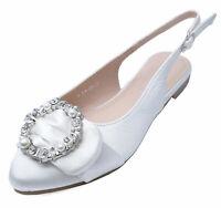 WOMENS WHITE SATIN BRIDESMAID WEDDING BRIDAL BRIDE PARTY FLAT SHOES SIZES 3-8