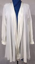 Beautiful Long Cream White Jacket With Satin Trim by Onyx VTG size 22