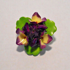 CARA CHINA STAFFORDSHIRE MADE IN ENGLAND FLOWER BROOCH SIGNED~Mint condition