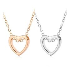 """Open Heart Pendant Necklace Silver or Gold Plated Stainless Steel Love 18"""" N110"""