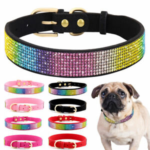 Bling Colorful Rhinestone Pet Dog Collars Soft Suede Leather Puppy Cat Necklaces