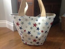 """Handmade oilcloth Shopping tote bag in """"stars"""" fabric"""