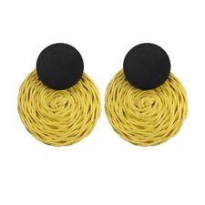 NEW Fashion Straw Rattan Woven Ear Stud Hook Earrings Women Jewelry Party Gift
