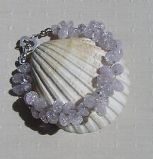 "Lilac Crackled Quartz Crystal Gemstone Bracelet ""Lilac Mist"""