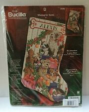 Bucilla Waiting For Santa Puppies Dogs Cross Stitch Stocking Kit Christmas 84791