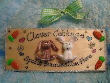 3d personalizzato 2 caratteri Coniglio Bunny House Hutch Sign Targa Giardino Capanno Run