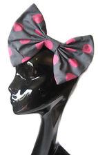 Gran arco de pelo-Gris Lunares Rosas Pelo Clip Indie Grunge Rockabilly 50 Moda
