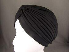 Black hair wrap Turban twist pleated womens ladies head cap cover turband