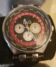 ORIGINAL D&G Men's Unique 46mm Chronograph Red Black Leather Dolce Gabbana Watch