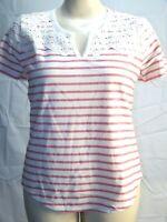 Liz Claiborne Round V Neck Embroidered White Light Red Striped Women's Sz Medium