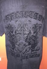 AFFLICTION REGAL LION MIRROR TATTOO WINGS ART TEE T SHIRT Sz Mens XL  Black