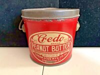 VINTAGE CREDO PEANUT BUTTER TIN - 1LB PAIL CAN BINGHAMTON NY DOVE GROCERY