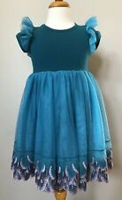Girls Boutique Teal Blue Cotton & Tulle Embroidered Fun Dress, Adorable! NEW! 2T