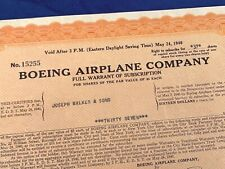 Certificate BOEING AIRPLANE COMPANY 1938 - Full Warrant of Subscription - 207
