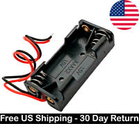 2x 1.5V AAA Plastic Battery Holder Storage Box Container Case w/ Wire Lead Black