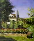 Claude Monet Garden Flowers Repro, Quality Hand Painted Oil Painting, 20x24in
