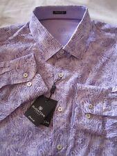 BUGATCHI Dress Shirt Mens XXL Lilac Paisley Flip Cuff Cotton Classic Fit L/S NEW
