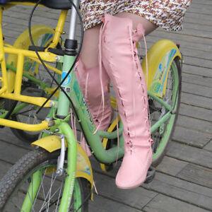 Ladies Knee High Wedge Heel Platform Shoes Womens Punk Goth Lace Up Biker Boots