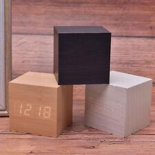 Wood Cube Clock LED Alarm Voice Control Digital Desk Bedside Wooden TemperaturSK