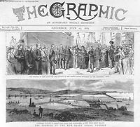 Antique print.1889.Opening.Barry Docks.Cardiff.Panorama.Queen Victoria.Arno.Ship