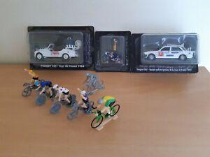 NOREV LOT TOUR DE FRANCE 2 VOITURES PEUGEOT 505 ET 203 + 7 CYCLISTES :