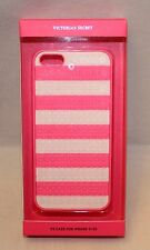 NIB Victoria Secret's Pink Case For iPhone 5 Pink & White Sequined Stripes