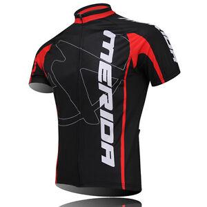 MERIDA Men's Cycling Jersey Bike Clothing Short Sleeve Shirt Cycle Top Red S-5XL