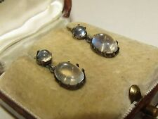 SUPERB, VICTORIAN, STERLING SILVER EARRINGS WITH FINE MOONSTONE GEMS
