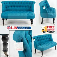 Dark Blue 2 Seater Tuffed buons Sofa Chair Living & Dining Room Office Armchair