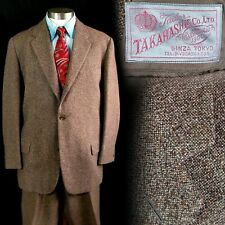Vintage 1950s Takahashi Ginza Tokyo Custom Tailored Brown Suit 40 33x32