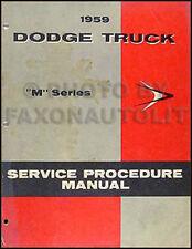 1959 Dodge Truck ORIGINAL Shop Manual Pickup Power Wagon Etc Repair Service Book